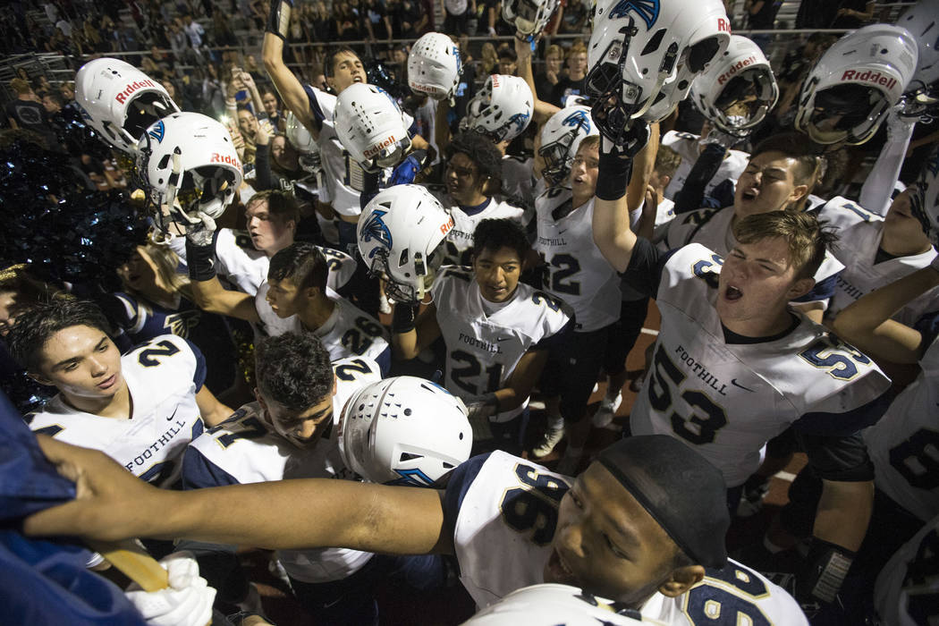 Foothill players celebrate their 21-17 victory over Basic following a varsity football game at Basic High School in Henderson on Friday, Oct. 5, 2018. Richard Brian Las Vegas Review-Journal @vegas ...