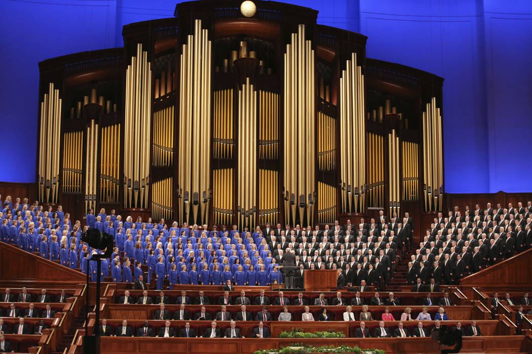 The Mormon Tabernacle Choir perform during the twice-annual conference of The Church of Jesus Christ of Latter-day Saints, in Salt Lake City in March 2018. (AP Photo/Rick Bowmer, File)