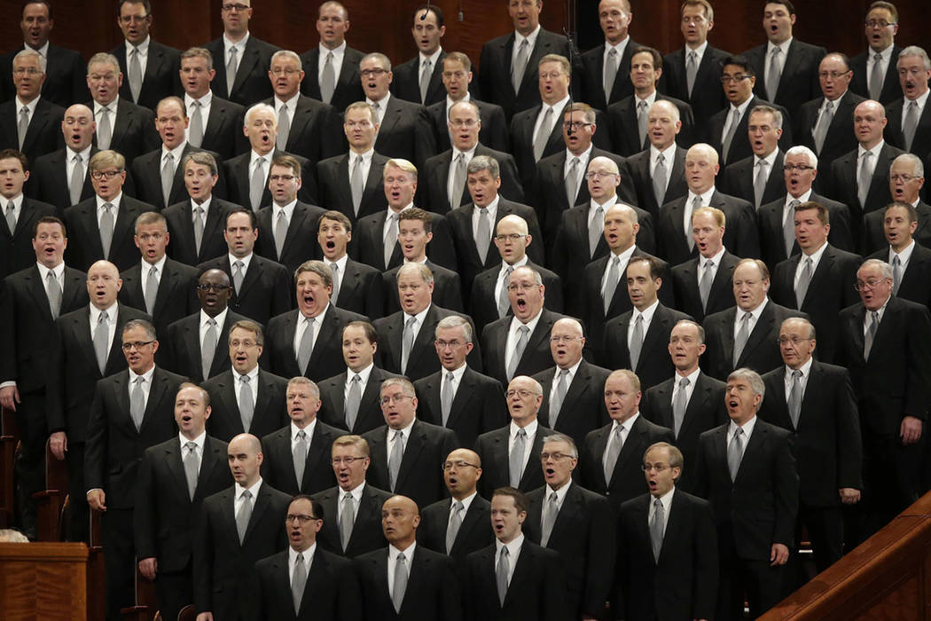 The Mormon Tabernacle Choir performs during the opening session of the two-day Mormon church conference in Salt Lake City in 2016. (AP Photo/Rick Bowmer, File)