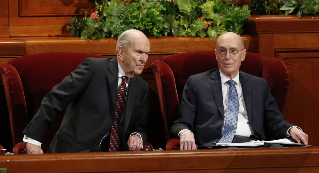 President Russell M. Nelson, left, as his counselor Henry B. Eyring look on during the twice-annual conference of The Church of Jesus Christ of Latter-day Saints, Saturday, Oct. 6, 2018, in Salt L ...