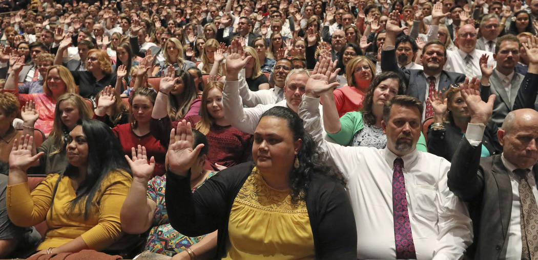 "Mormons participate in a long-standing custom called a ""sustaining"" when Latter-day Saints stand and raise their hands during the twice-annual conference of The Church of Jesus Christ of ..."