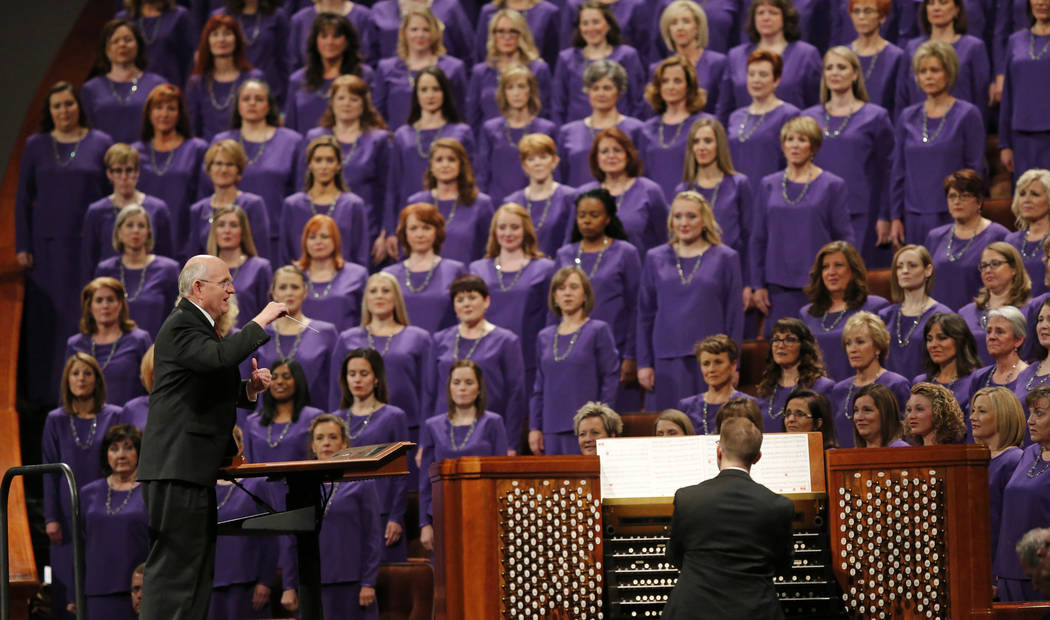 The Tabernacle Choir at Temple Square performs during the twice-annual conference of The Church of Jesus Christ of Latter-day Saints Saturday, Oct. 6, 2018, in Salt Lake City. (AP Photo/Rick Bowmer)