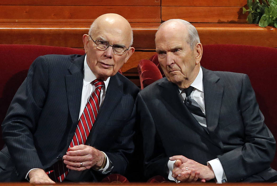 President Russell M. Nelson, right, as his counselor, Dallin H. Oaks, left, speak during the twice-annual conference of The Church of Jesus Christ of Latter-day Saints Saturday, Oct. 6, 2018, in S ...