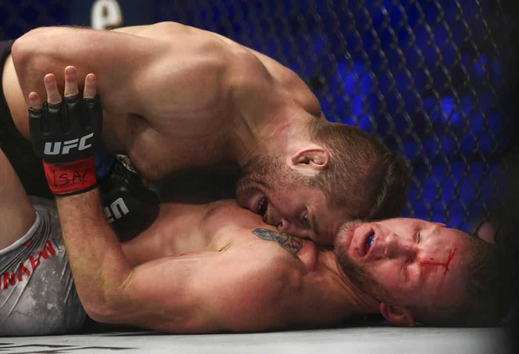 Nik Lentz, left, fights Gray Maynard fights during their lightweight bout at UFC 229 at T-Mobile Arena in Las Vegas on Saturday, Oct. 6, 2018. Chase Stevens Las Vegas Review-Journal @csstevensphoto