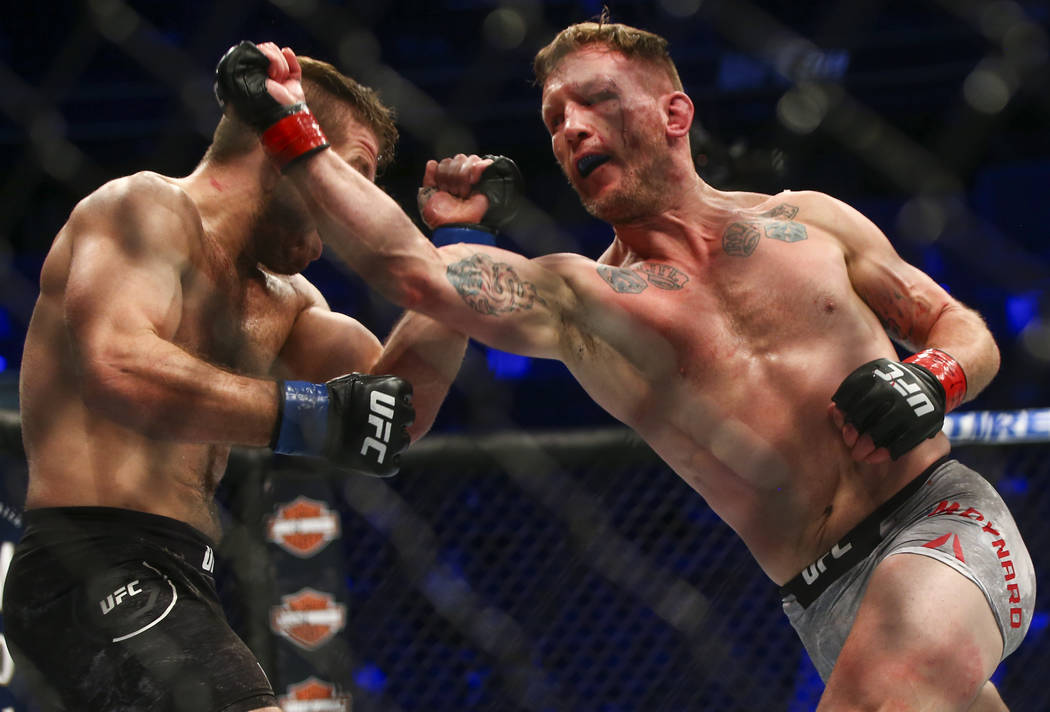 Gray Maynard, right, fights Nik Lentz during their lightweight bout at UFC 229 at T-Mobile Arena in Las Vegas on Saturday, Oct. 6, 2018. Chase Stevens Las Vegas Review-Journal @csstevensphoto