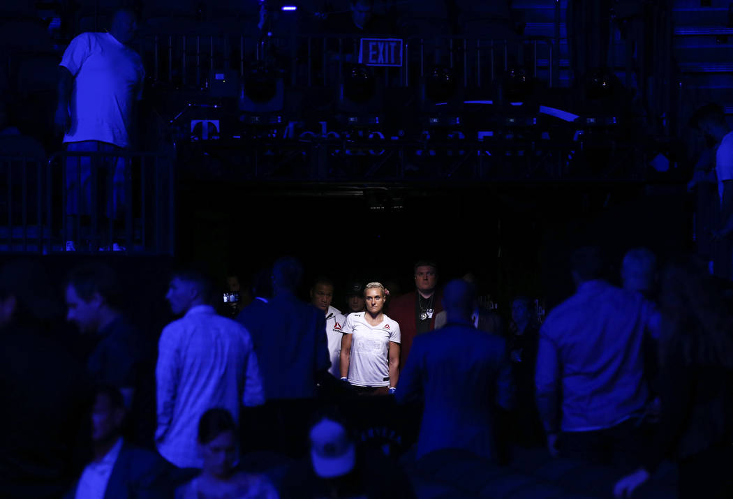 Yana Kunitskaya stands before her introduction for her bantamweight bout against Lina Lansberg at UFC 229 at T-Mobile Arena in Las Vegas on Saturday, Oct. 6, 2018. Chase Stevens Las Vegas Review-J ...