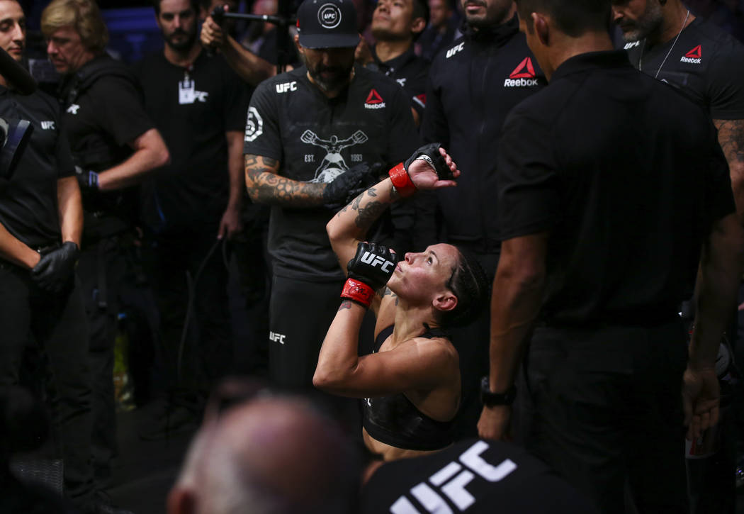 Lina Lansberg before for her bantamweight bout against Yana Kunitskaya at UFC 229 at T-Mobile Arena in Las Vegas on Saturday, Oct. 6, 2018. Chase Stevens Las Vegas Review-Journal @csstevensphoto