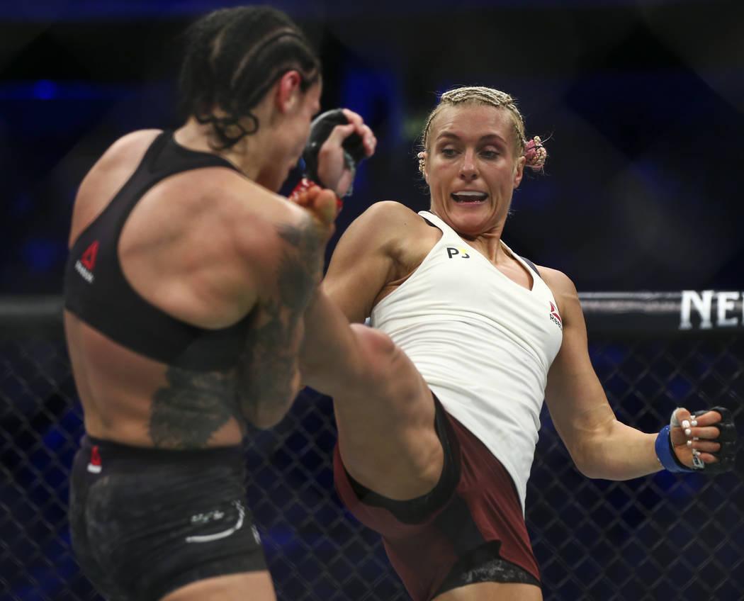 Lina Lansberg, left, fights Yana Kunitskaya during their bantamweight bout at UFC 229 at T-Mobile Arena in Las Vegas on Saturday, Oct. 6, 2018. Chase Stevens Las Vegas Review-Journal @csstevensphoto