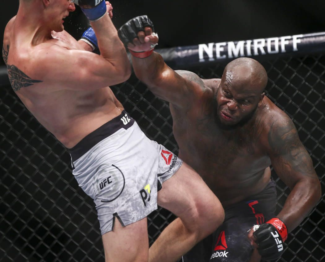 Derrick Lewis, right, fights Alexander Volkov during their heavyweight bout at UFC 229 at T-Mobile Arena in Las Vegas on Saturday, Oct. 6, 2018. Chase Stevens Las Vegas Review-Journal @csstevensphoto