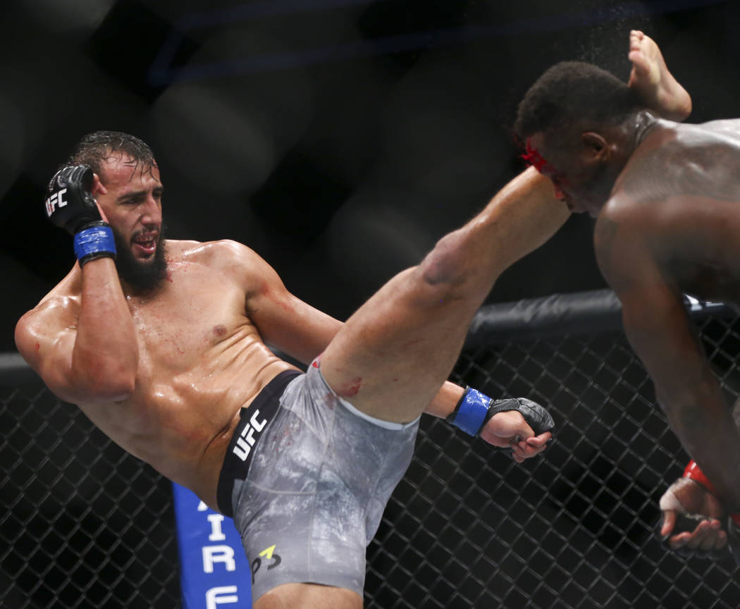 Dominick Reyes, left, kicks Ovince Saint Preux during their light heavyweight bout at UFC 229 at T-Mobile Arena in Las Vegas on Saturday, Oct. 6, 2018. Chase Stevens Las Vegas Review-Journal @csst ...
