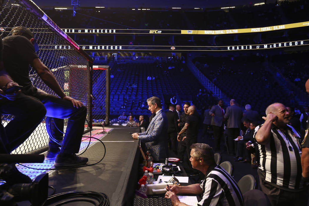 Announcer Michael Buffer at UFC 229 at T-Mobile Arena in Las Vegas on Saturday, Oct. 6, 2018. Chase Stevens Las Vegas Review-Journal @csstevensphoto