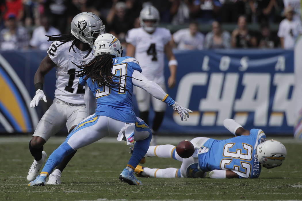 Los Angeles Chargers strong safety Jahleel Addae (37) reacts after a fumble by the Oakland Raiders wide receiver Martavis Bryant during the first half of an NFL football game Sunday, Oct. 7, 2018, ...
