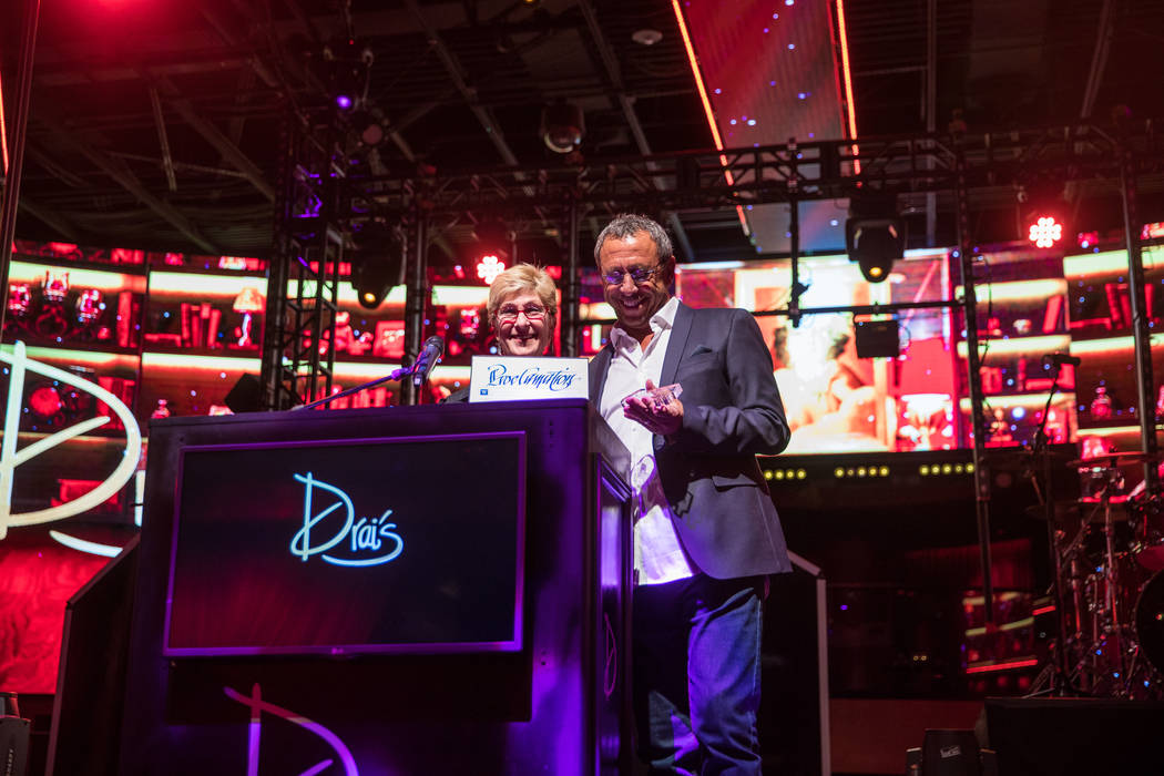 Victor Drai and County Commissioner Chris Giunchigliani celebrate the 20th anniversary of Drai's After Dark at The Cromwell on Sunday, June 25, 2017. (Tony Tran)