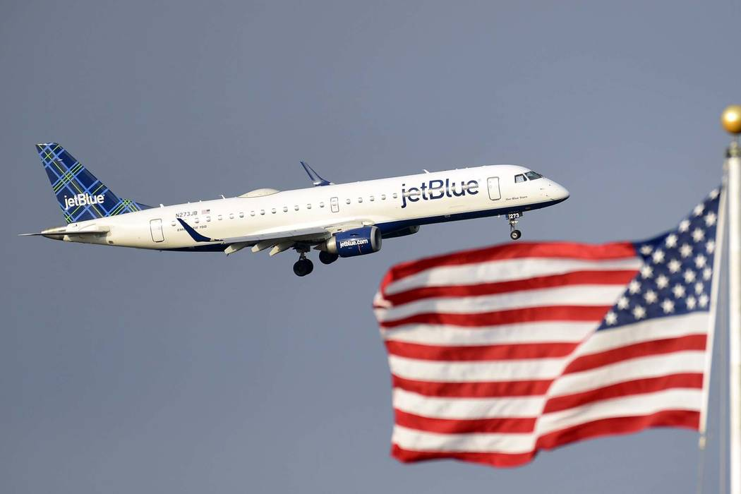 An engine fire forced an aborted takeoff in Las Vegas of a JetBlue flight to Boston on Sunday, Oct. 7, 2018. (Susan Walsh/AP)