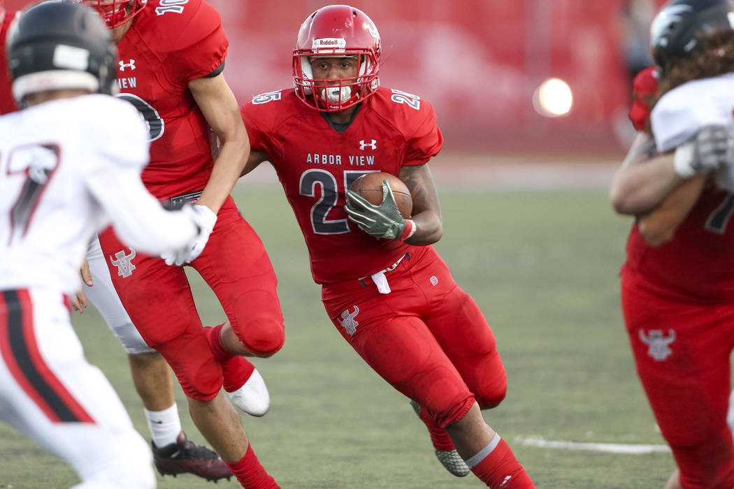 Arbor View Aggies running back Kyle Graham (25) runs the ball for a touchdown against the Valley View Eagles during the second half of a varsity football game at Arbor View High School in Las Vega ...