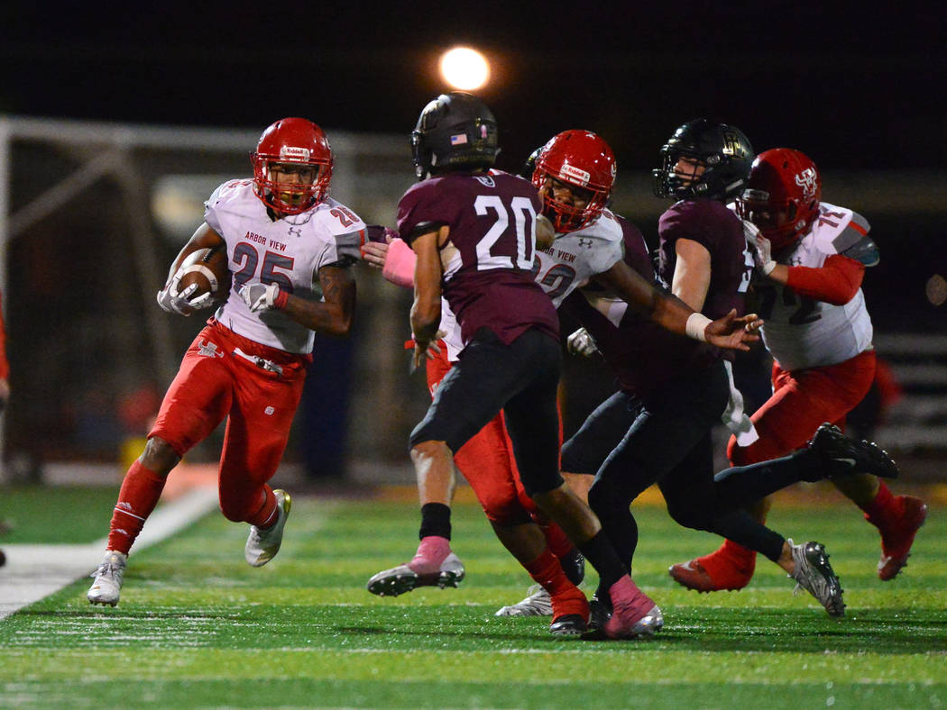 Arbor View running back Kyle Graham (25) runs the ball down the sideline during the fourth quarter of a game at Faith Lutheran in Las Vegas on Friday, Oct. 5, 2018. Arbor View won 10-7. Brett Le B ...
