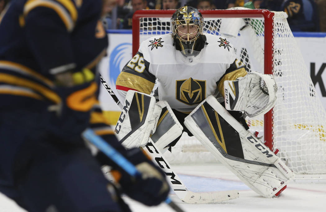 Vegas Golden Knights goalie Marc-Andre Fleury (29) looks on during the third period of an NHL hockey game against the Buffalo Sabres, Monday, Oct. 8, 2018, in Buffalo N.Y. (AP Photo/Jeffrey T. Barnes)