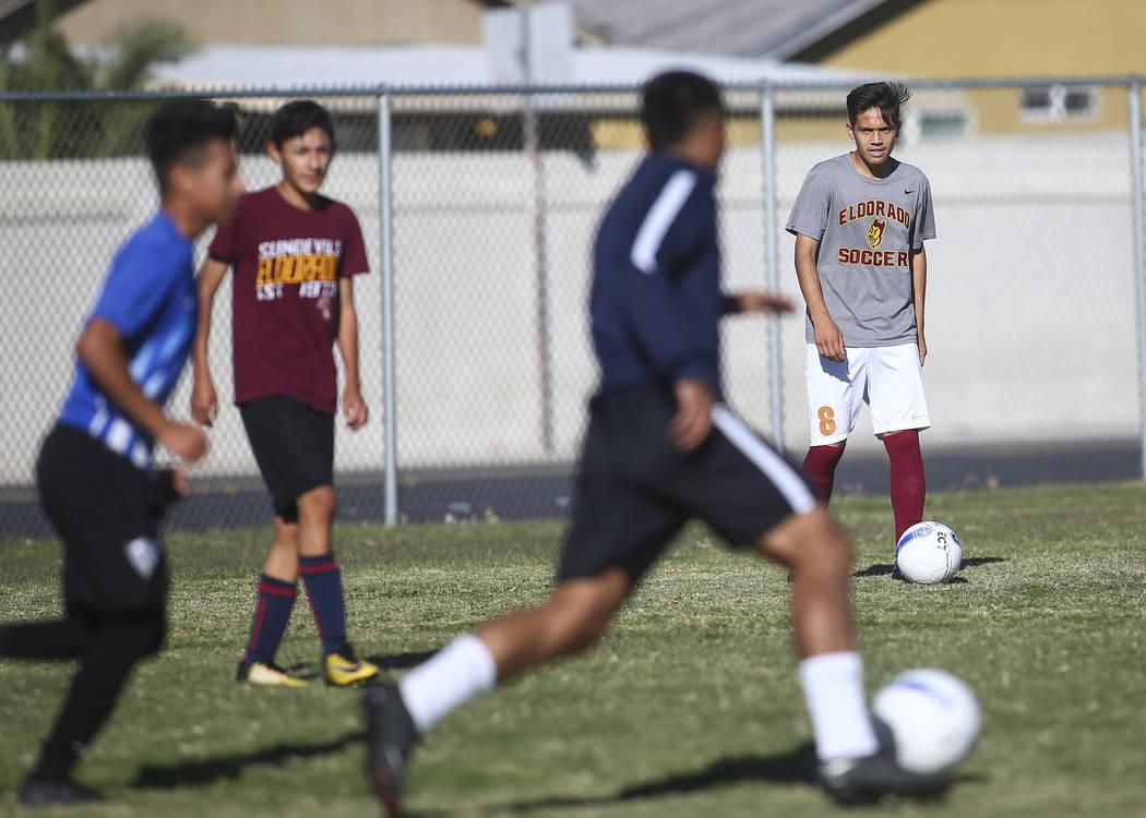 Eldorado's Roberto Gonzalez moves the ball during soccer practice at Eldorado High School in Las Vegas on Tuesday, Oct. 9, 2018. Chase Stevens Las Vegas Review-Journal @csstevensphoto