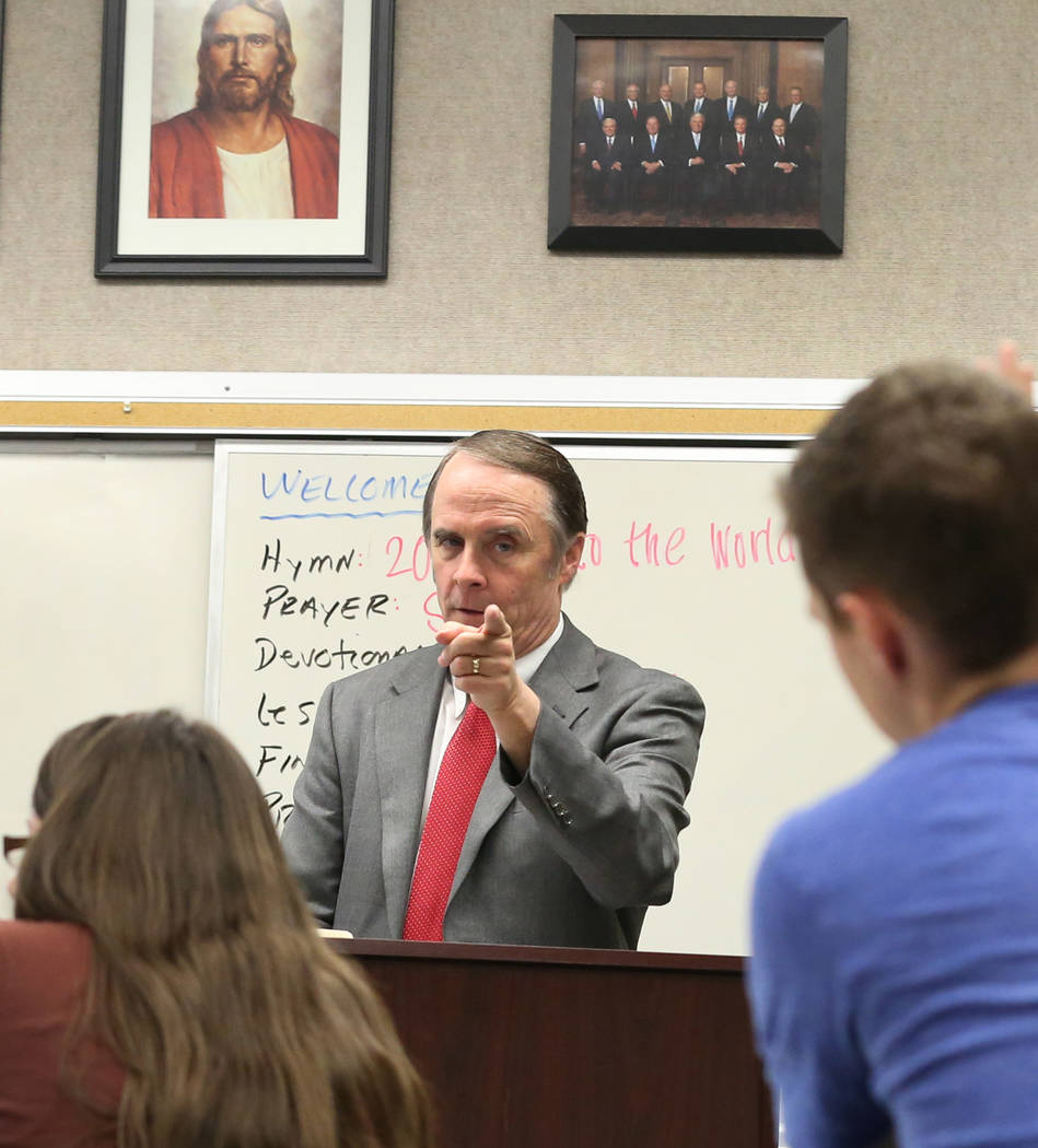 Bruce Hansen, director of the Latter-day Saints Student Association, teaches religion at UNLV on Tuesday, Oct. 9, 2018, in Las Vegas. Bizuayehu Tesfaye/Las Vegas Review-Journal @bizutesfaye