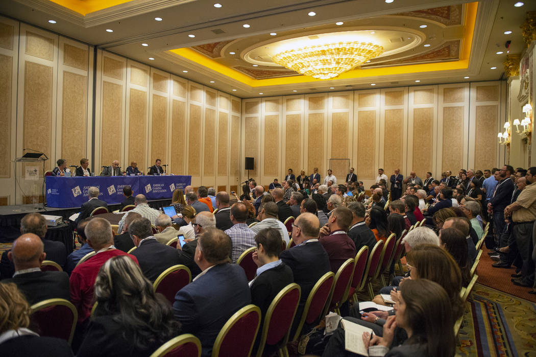 "Attendees of the Global Gaming Expo (G2E), hosted by the American Gaming Association, fill the room during a panel titled ""Changing the Game: The Legal and Regulatory Impacts of a PASPA Repel ..."