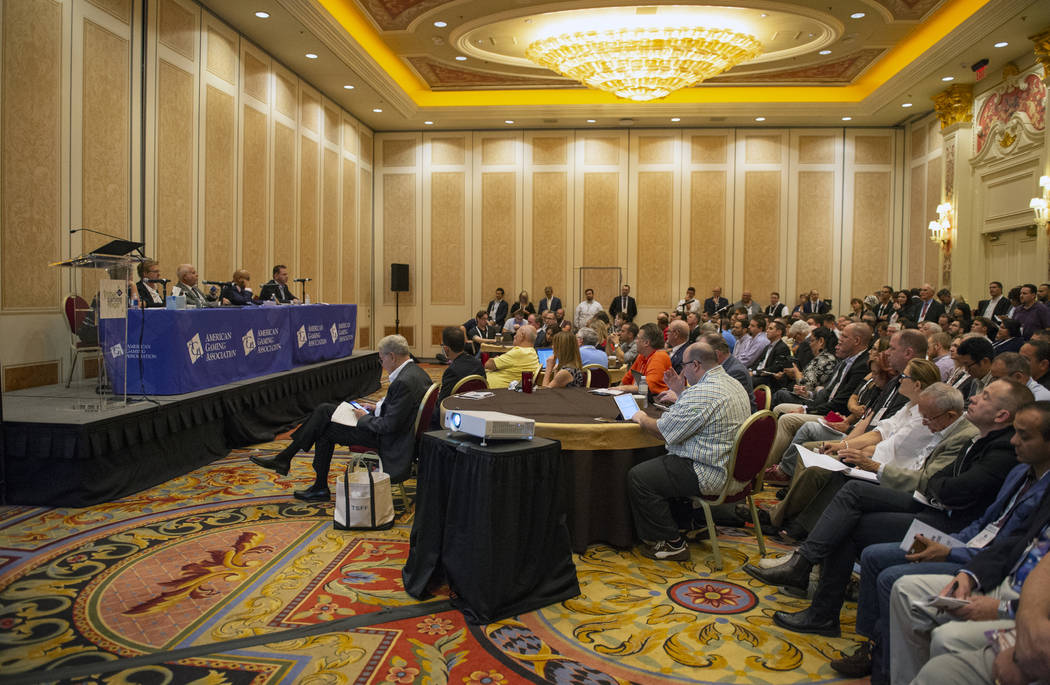 """Attendees of the Global Gaming Expo (G2E), hosted by the American Gaming Association, fill the room during a panel titled """"Changing the Game: The Legal and Regulatory Impacts of a PASPA Repel ..."""
