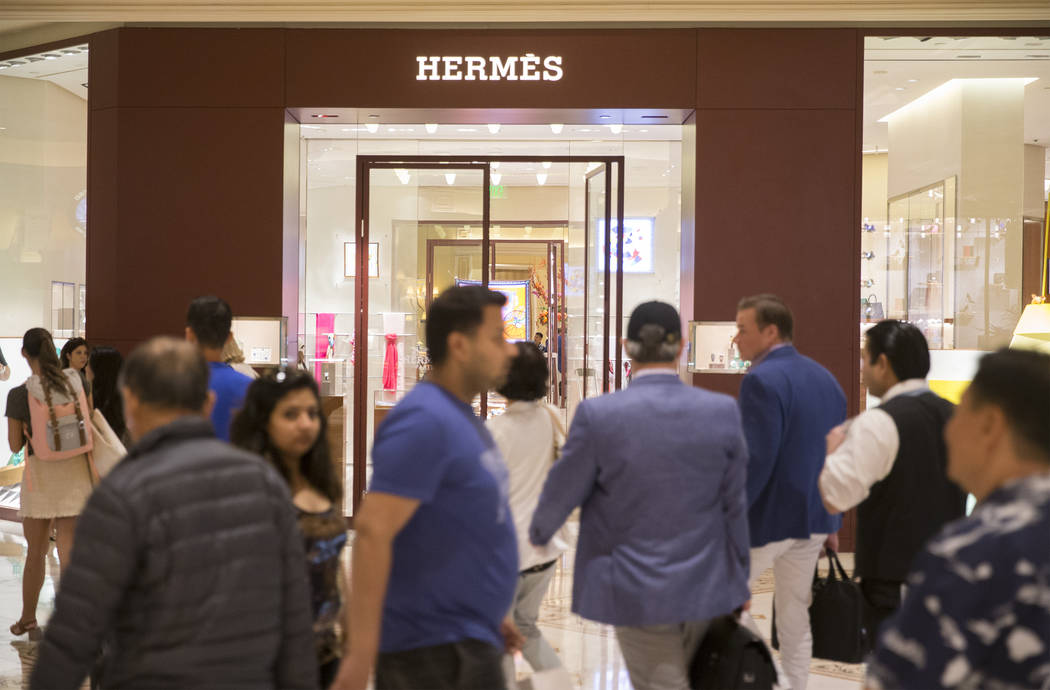 Shoppers pass by Hermes on Tuesday, Oct. 2, 2018, at Bellagio, in Las Vegas. Benjamin Hager Las Vegas Review-Journal @benjaminhphoto