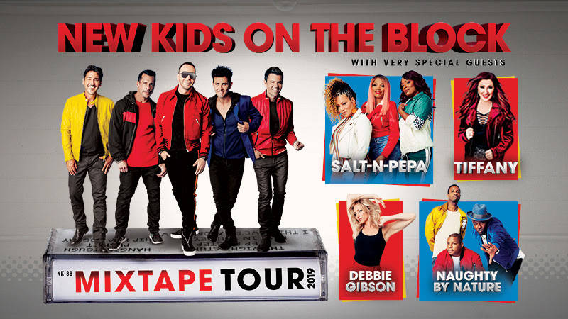 """A promotional poster for """"MixTape Tour"""" starring New Kids on the Block, Debbie Gibson, Naughty By Nature, Tiffany and Salt-N-Pepa. (Live Nation)"""