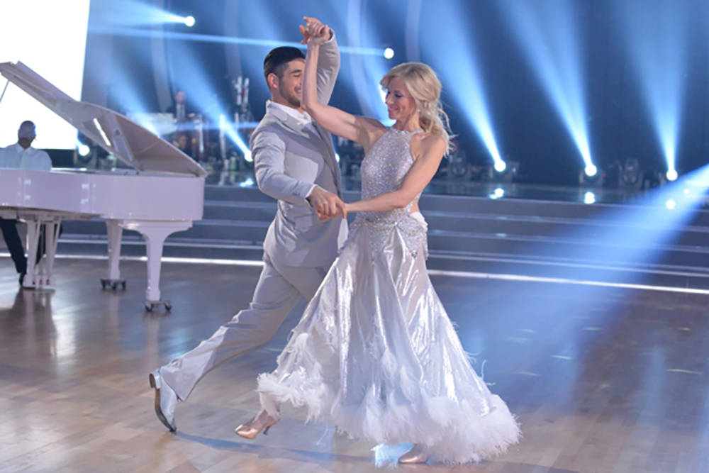 """Debbie Gibson is shown dancing with Alan Bersten on 25th season of ABC TV's hit """"Dancing with the Stars"""" in September 2017. (ABC-TV)"""