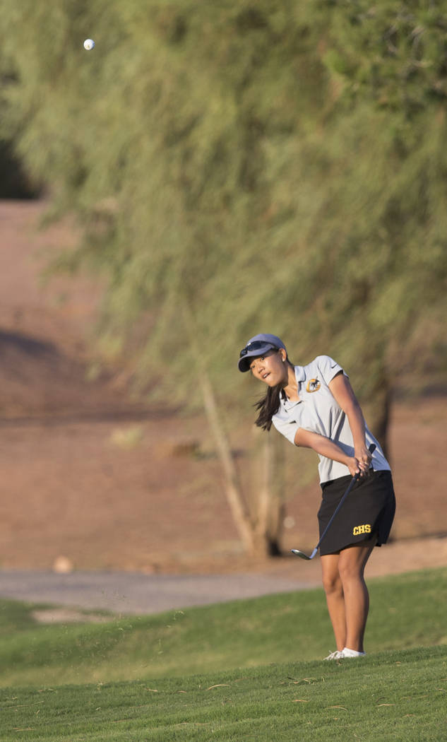 Clark sophomore Riana Mission hits an iron at Stallion Mountain Golf Club on Wednesday, Oct. 10, 2018, in Las Vegas. Benjamin Hager Las Vegas Review-Journal @benjaminhphoto