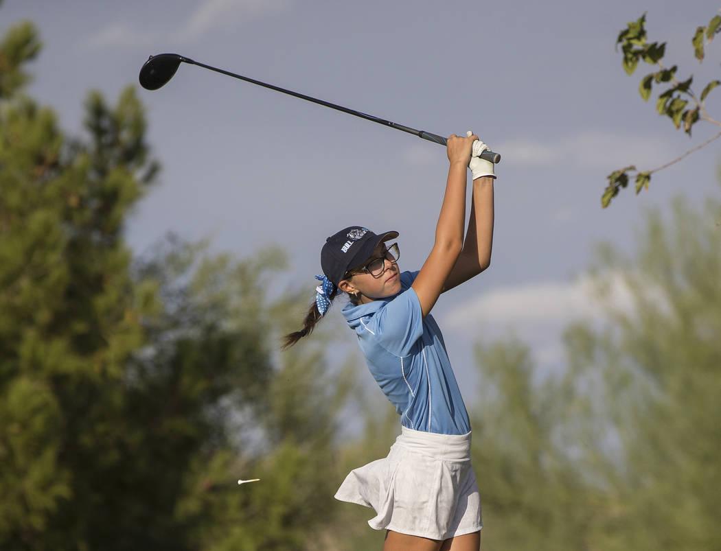 Centennial sophomore McKenzi Hall drives the ball at Stallion Mountain Golf Club on Wednesday, Oct. 10, 2018, in Las Vegas. Benjamin Hager Las Vegas Review-Journal @benjaminhphoto