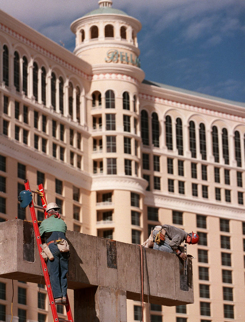 Construction work continues on the Bellagio in November 1997. (RJ File Photo)