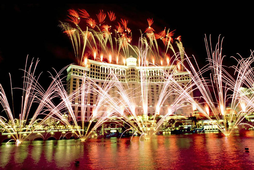 Fireworks light up the sky above and around the Bellagio during the grand opening celebration for the casino Sunday, Oct. 18, 1998. (Las Vegas News Bureau)