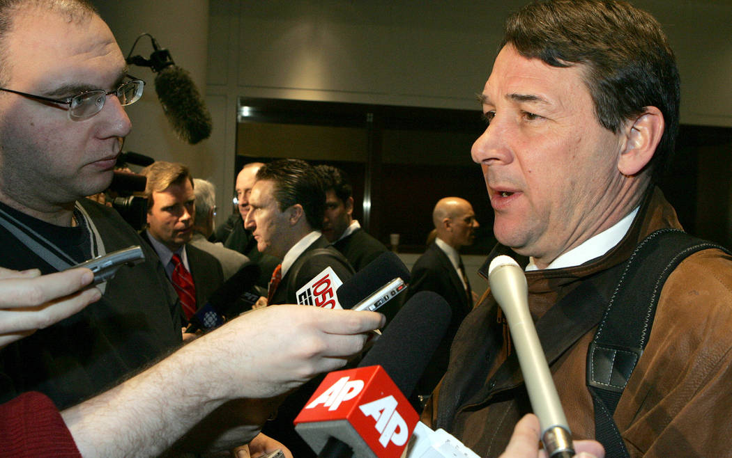 Mike Milbury, New York Islanders general manager speaks during a news interview before the NHL board of governors meeting Tuesday March 1, 2005 in New York. Toronto Maple Leafs General Manager Jo ...