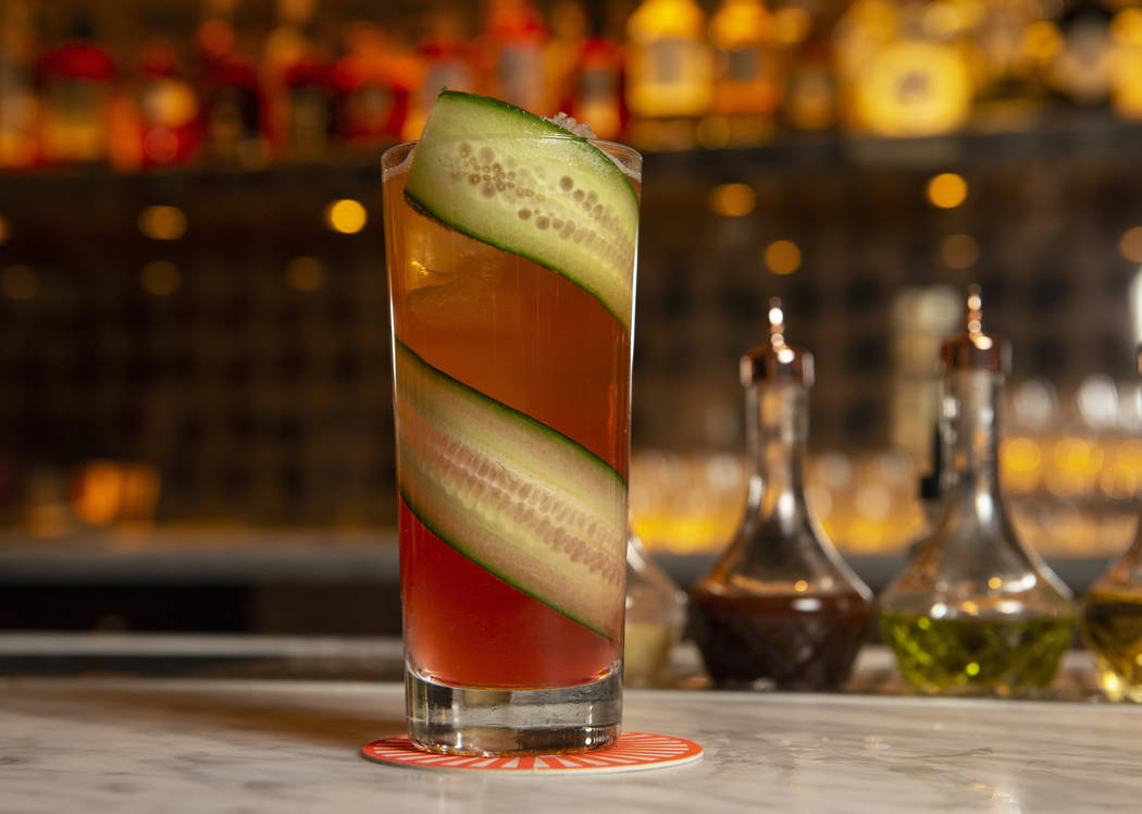 "The ""Bogs and Barely"" cocktail is made up of elderflower liqueur, pickled cranberries, lemon, jalapeno-infused agave, cucumber and pomander weisse beer at the NoMad Bar and Restaurant in ..."