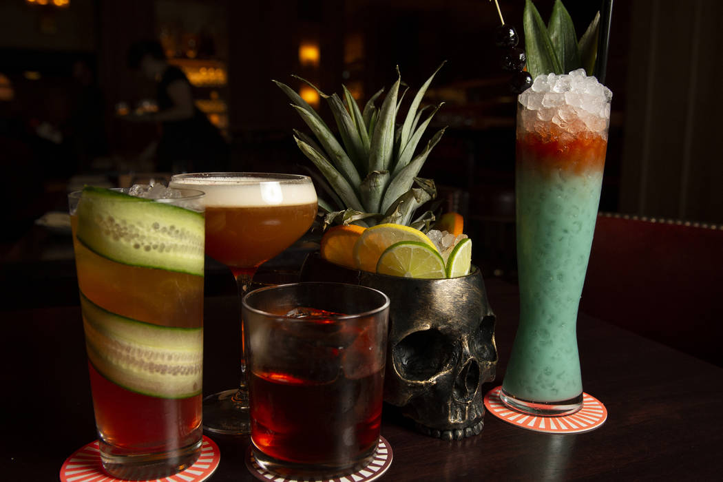 A variety of drinks at NoMad Bar and Restaurant at Park MGM in Las Vegas, Monday, Oct. 8, 2018. Caroline Brehman/Las Vegas Review-Journal @carolinebrehman