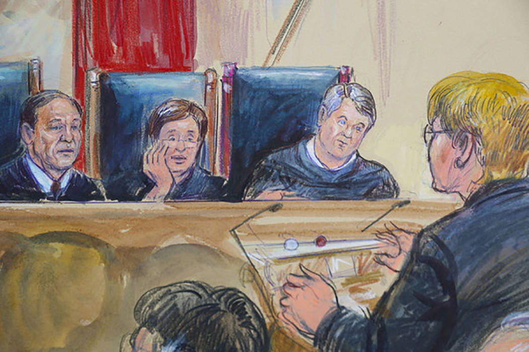 This courtroom sketch depicts Attorney Brenda G. Bryn, far right, speaking in front of from l-r, Associate Justice Samuel Alito Jr., Associate Justice Elena Kagan and Associate Justice Brett Kavan ...