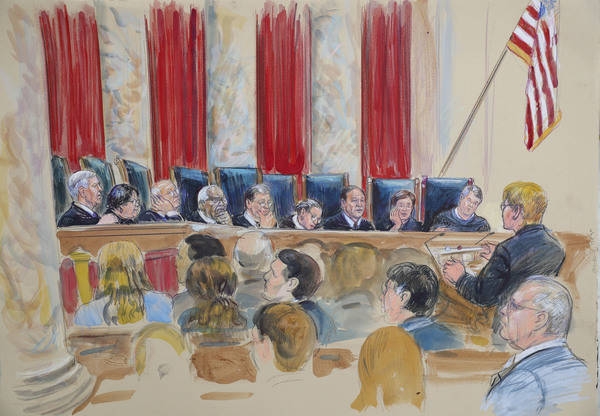 This courtroom sketch depicts Attorney Brenda G. Bryn, far right standing, speaking in front of from l-r, Associate Justice Neil Gorsuch, Associate Justice Sonia Sotomayor, Associate Justice Steph ...