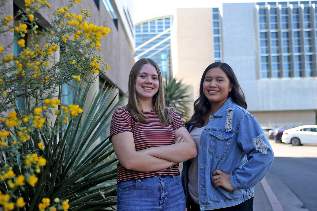 Makenzi Solis, left, and Jessica Gonzales at UNLV in Las Vegas, Thursday, Sept. 27, 2018. Both women are fellows for the Nevada Institute on Teaching and Educator Preparation's new program called ...