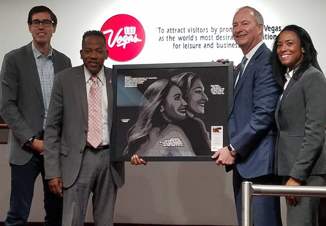 Google's Kyle Duffy, senior business lead for travel, presented a recognition to the Las Vegas Convention and Visitors Authority to board chairman Lawrence Weekly, CEO Steve Hill and Yanick Dalhou ...