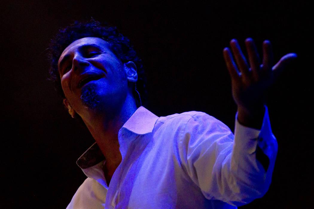 Serj Tankian of System of a Down performs during the Rock in Rio music festival in Rio de Janeiro, Brazil, Sunday Oct. 2, 2011. (AP Photo/Felipe Dana)