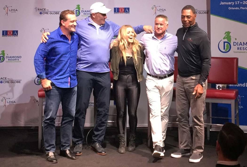 From left, former 9-time NHL all star Jeremy Roenick, former Redskins Superbowl MVP Mark Rypien, country singer Lindsay Ell, Diamond Resorts International executive Bryan Ingrande and former Raide ...