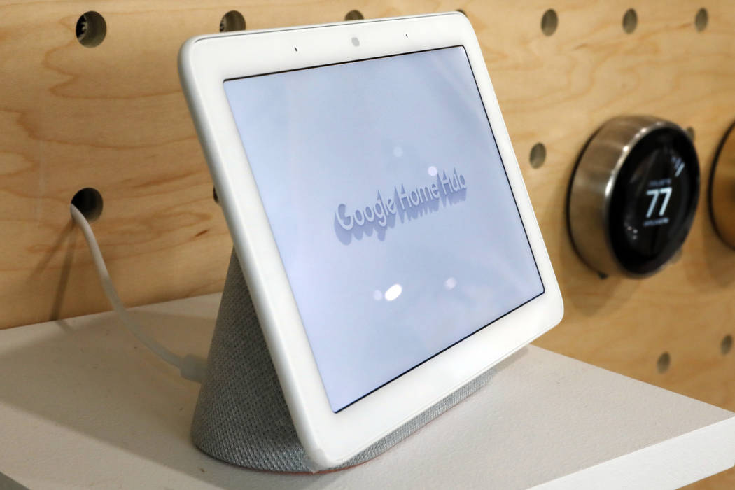 A Google Home Hub is displayed in New York, Tuesday, Oct. 9, 2018. Google rolled out a new device called Home Hub that couples a small display screen with an internet-connected speaker. (AP Photo/ ...