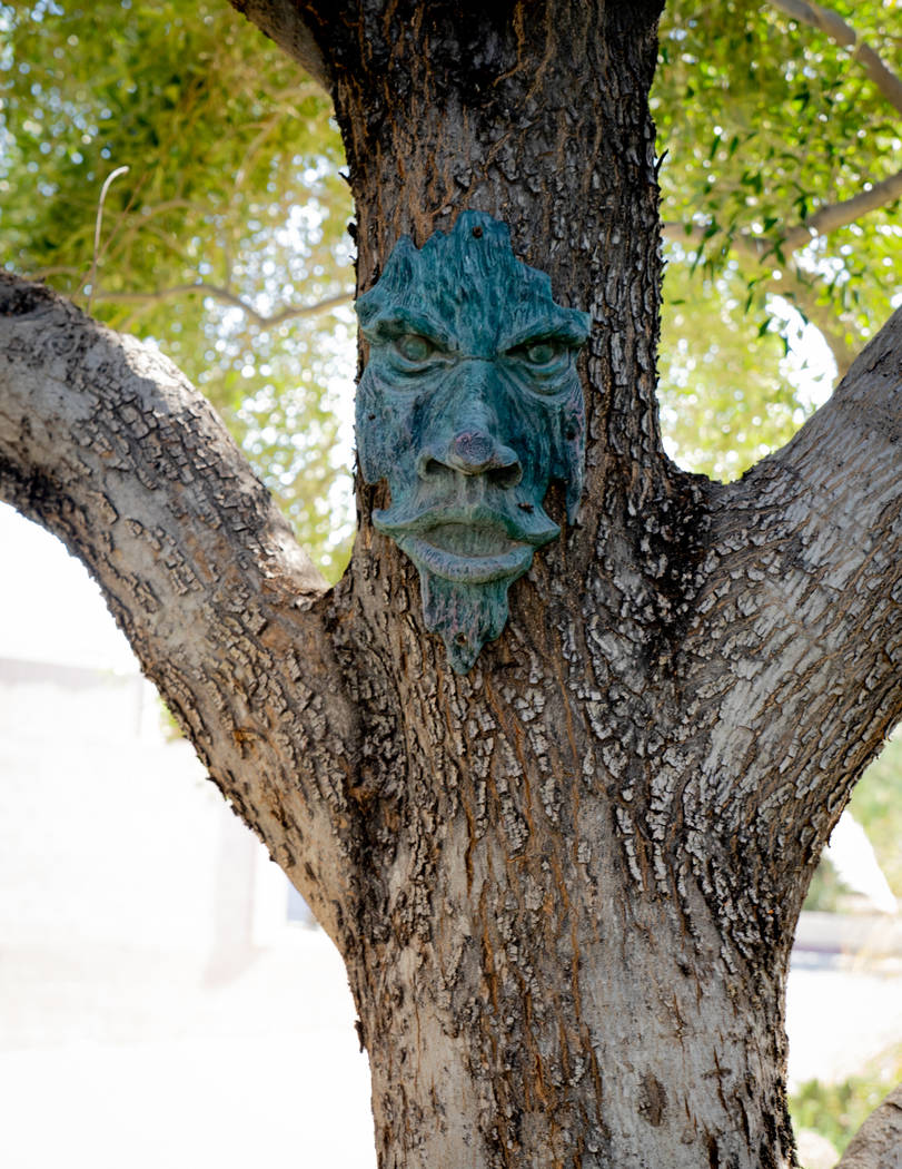 The front yard has a tree with a mask. Jeff and Abigail McBride have decorated their home to reflect their love of magic. (Tonya Harvey Real Estate Millions)