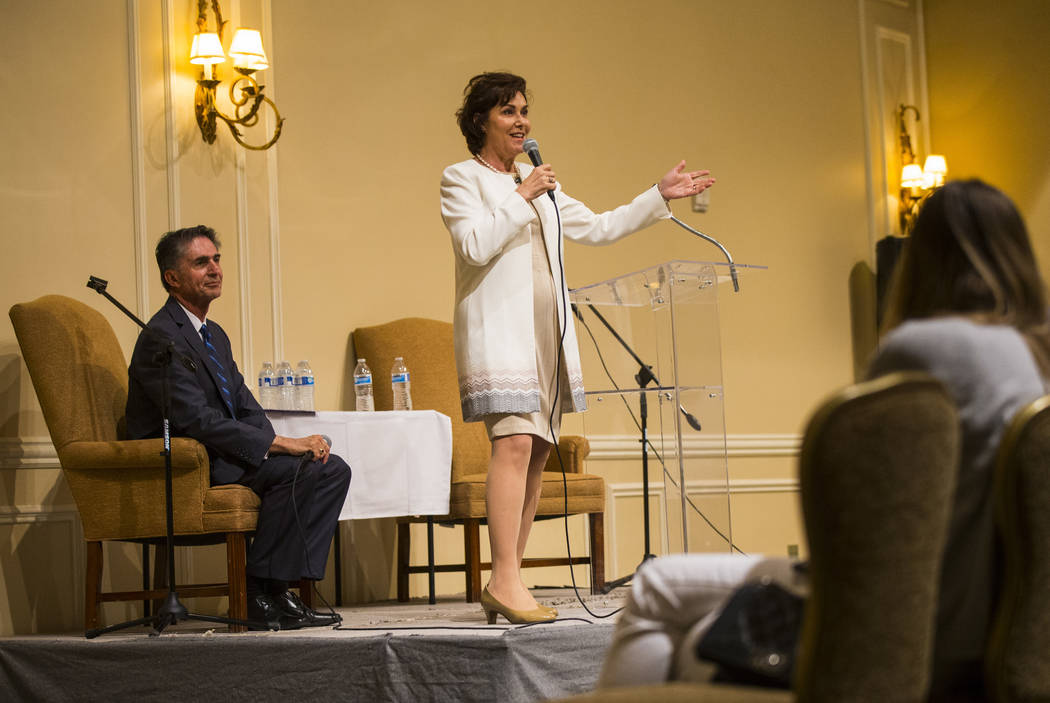 U.S. Rep. Jacky Rosen, D-Nev, candidate for U.S. Senate, speaks during a candidate forum held by the Nevada Broadcasters Association at Temple Beth Sholom in Las Vegas on Tuesday, Oct. 9, 2018. Ch ...