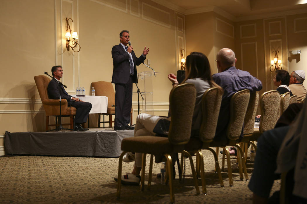 Danny Tarkanian, Republican candidate for the 3rd Congressional District, speaks during a candidate forum held by the Nevada Broadcasters Association at Temple Beth Sholom in Las Vegas on Tuesday, ...