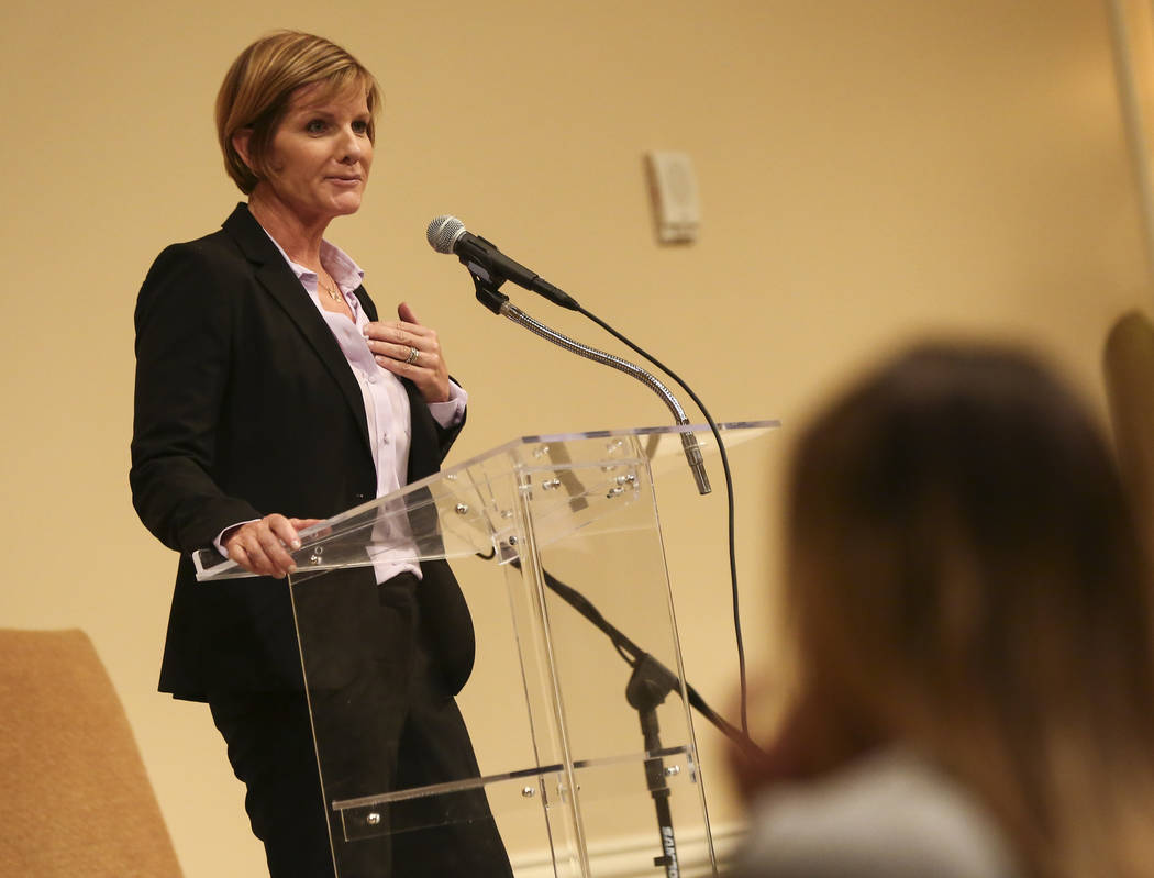Susie Lee, Democratic candidate for the 3rd Congressional District, speaks during a candidate forum held by the Nevada Broadcasters Association at Temple Beth Sholom in Las Vegas on Tuesday, Oct. ...
