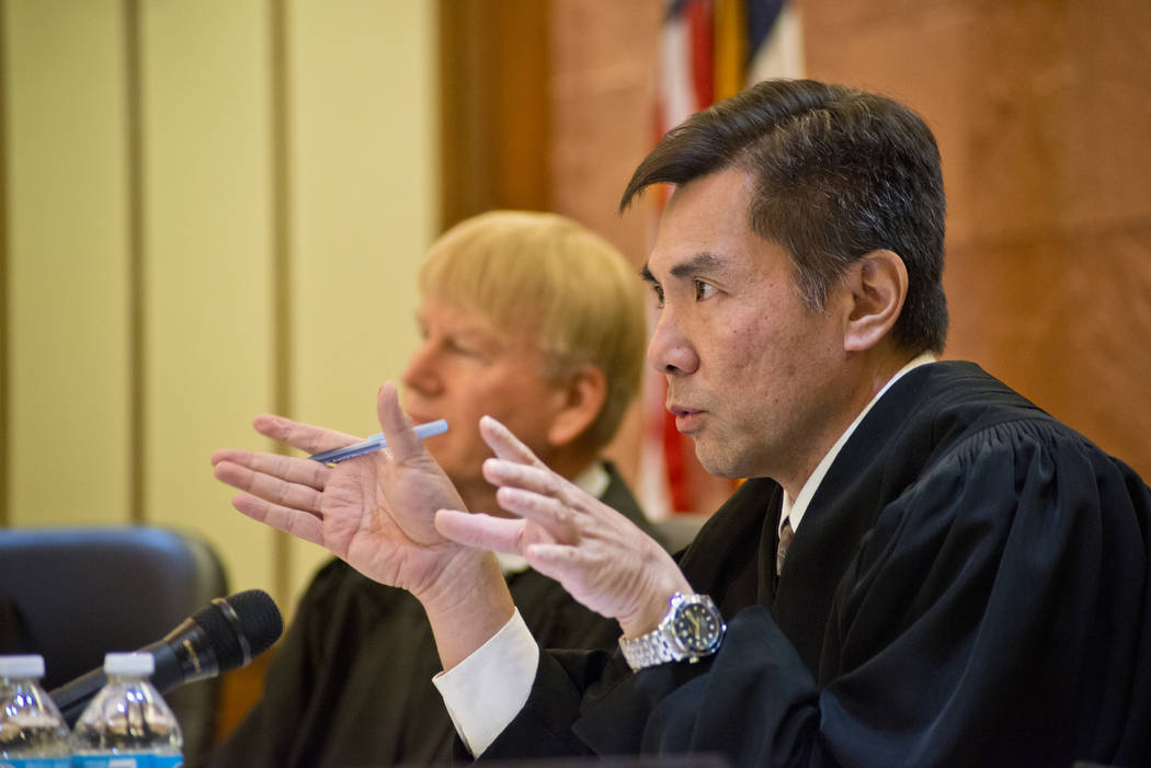 Judge Jerry Tao speaks during Nevada Court of Appeals oral arguments in the Thomas & Mack Moot Courtroom on the UNLV campus in Las Vegas on Nov. 15, 2016. Daniel Clark/Las Vegas Review-Journal Fol ...