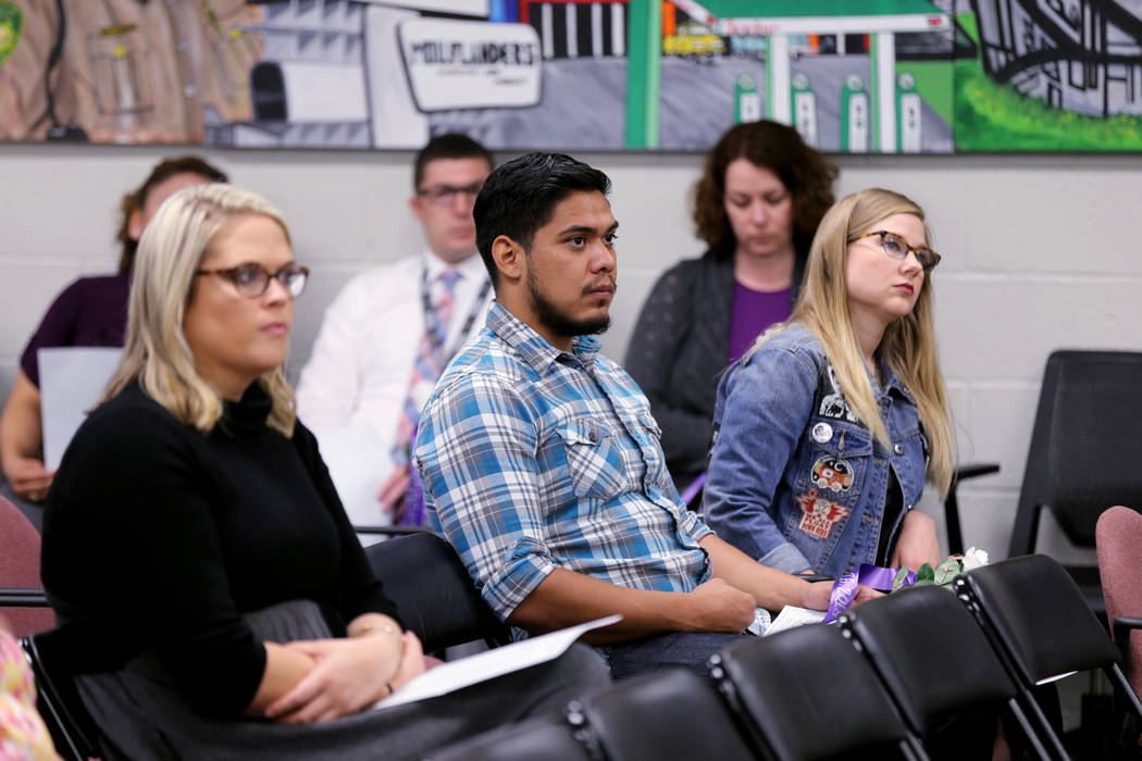 Audience members during a Community Coalition for Victims Rights and Metropolitan Police Department ceremony at the Southern Nevada Family Justice Center in Las Vegas on Thursday, Oct. 11, 2018, t ...