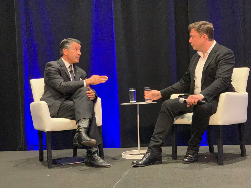 Gov. Brian Sandoval held a Q&A with Tesla founder Elon Musk at the company's Gigafactory battery facility in Sparks on Tuesday, October 9, 2018, as part of a tech summit convened by the governor ...