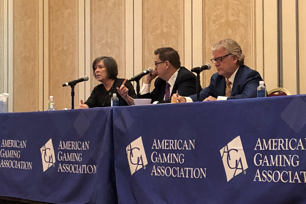From left to right: Phyllis Gilland, senior vice president and general counsel for Golden Entertainment, Inc.; Matt Krystofiak, senior vice president of human resources for Caesars Entertainment; ...